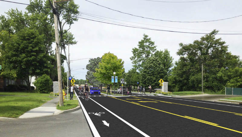 Rendering of Delaware Ave after complete streets project